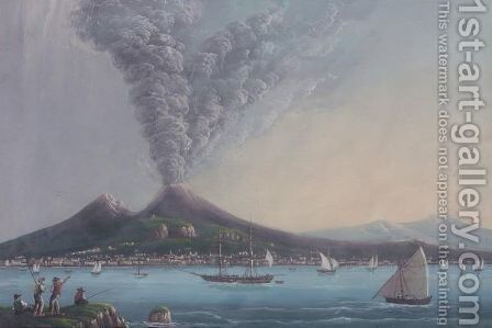 The Bay Of Naples by Italian School - Reproduction Oil Painting