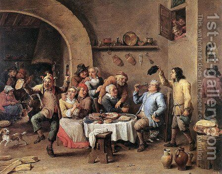 Twelfth-night (The King Drinks) 1634-40 by David The Younger Teniers - Reproduction Oil Painting