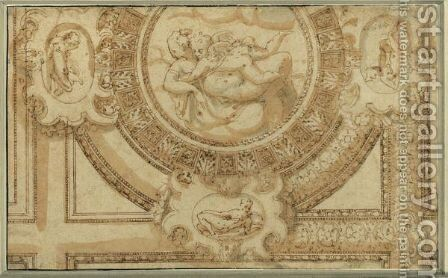 Design For A Ceiling Decoration With Venus And Cupid Embracing by Bernardino India - Reproduction Oil Painting