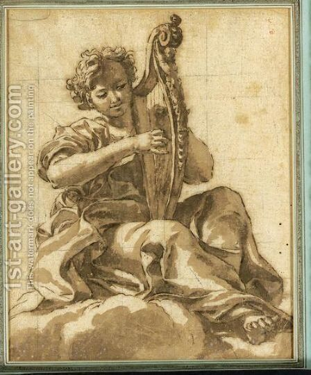 An Angel Seated In The Clouds Playing A Harp by Giovanni Battista (Baciccio) Gaulli - Reproduction Oil Painting