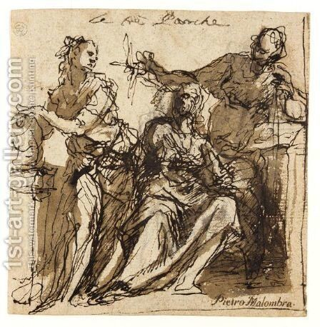 Study Of The Three Fates by (after) Alessandro Maganza - Reproduction Oil Painting