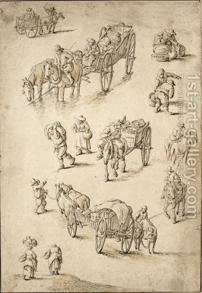 Sheet Of Studies Of Peasants, Riders And Waggons by Herman Saftleven - Reproduction Oil Painting