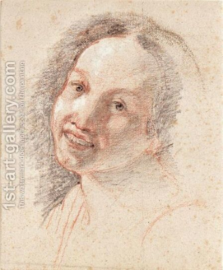 Study Of The Head Of A Smiling Girl by (after) Hendrick Terbrugghen - Reproduction Oil Painting