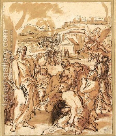 Christ Preaching Outside Jerusalem by Giuseppe Passeri - Reproduction Oil Painting