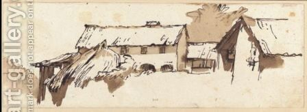 Farm Buildings Behind A Wall by Giovanni Battista Tiepolo - Reproduction Oil Painting
