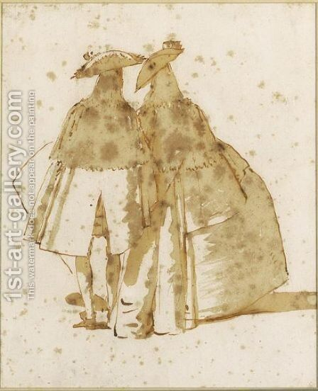 Two Cloaked Figures Seen From The Rear by Giovanni Domenico Tiepolo - Reproduction Oil Painting