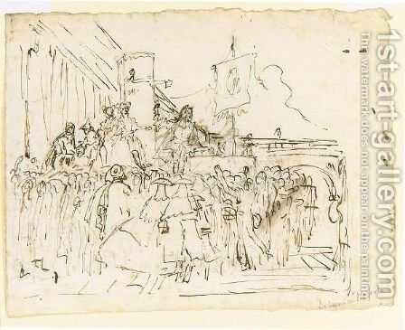 A Crowd Watching A Charlatan 2 by Giovanni Domenico Tiepolo - Reproduction Oil Painting