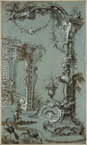 A Rocaille Fantasy With A Garden Decorated With A Rococo Trellis, A Fountain With Two Dolphins In The Background And Two Herons In The Foreground by Jacques de Lajoue - Reproduction Oil Painting