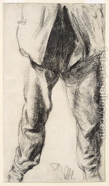Study Of Legs And Lower Torso, Seen From The Front by Adolph von Menzel - Reproduction Oil Painting
