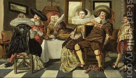 An Elegant Company Dining In An Interior by (after) Dirck Hals - Reproduction Oil Painting