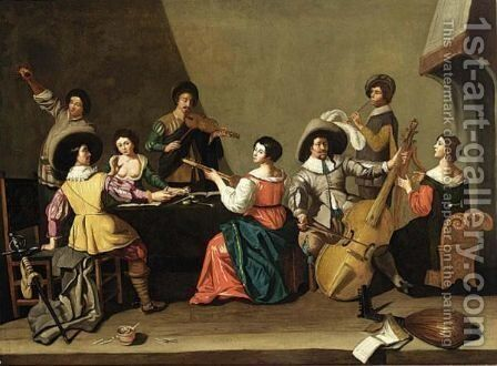 An Elegant Company Making Music by (after) Jan Van Bijlert - Reproduction Oil Painting