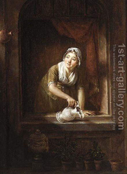 A Maid In A Window Watering Plants by Dutch School - Reproduction Oil Painting