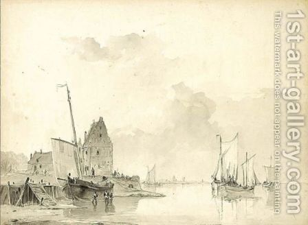 Boats Along The Quay At Low Tide by Cristiaan-Lodewyk-Wille Dreibholtz - Reproduction Oil Painting