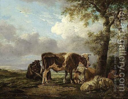A Shepherd Boy And His Cattle Resting Besides A Tree by Anthony Jacob Offermans - Reproduction Oil Painting