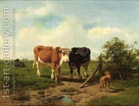 Three Cows And A Dog In A Meadow by Arie Ketting De Koningh - Reproduction Oil Painting