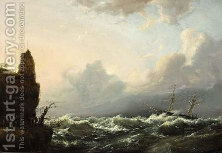 People Gathered On The Coast Watching A Boat In Stormy Weather by Casparus Johannes Morel - Reproduction Oil Painting