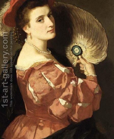 A Portrait Of An Elegant Lady Holding A Fan by Carl Ludwig Friedrich Becker - Reproduction Oil Painting