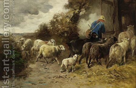 A Herdsman With His Flock Returning Home by Henry Schouten - Reproduction Oil Painting