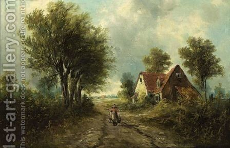 A Peasant Woman In A Landscape by Henry Schouten - Reproduction Oil Painting