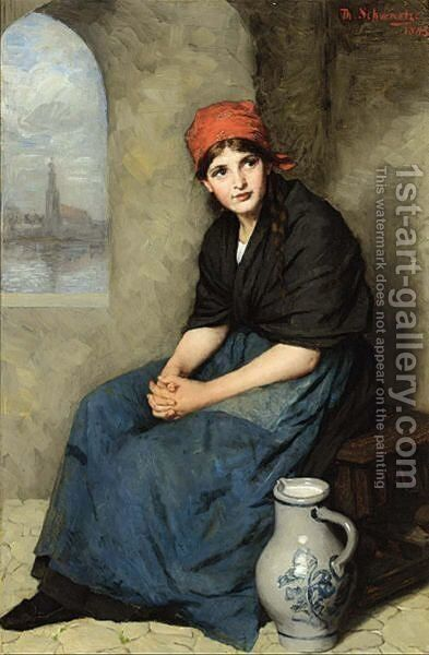 A Portrait Of A Seated Girl, Wearing A Dark Blue Dress And Red Headscarf by Thérèse Schwartze - Reproduction Oil Painting