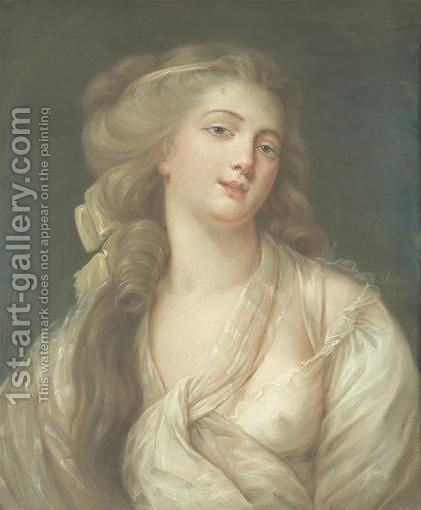 Jeune Femme En Deshabille antoine Vestier  Young Woman In Neglige, Pastel by Antoine Vestier - Reproduction Oil Painting