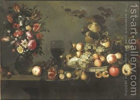 Still Life With Flowers, Fruits In A Dish And Roemer by Michiel Simons - Reproduction Oil Painting