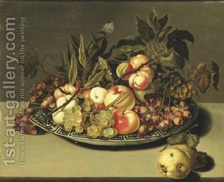 Fruits In A Bowl Of Porcelain by Bartholomeus Assteyn - Reproduction Oil Painting