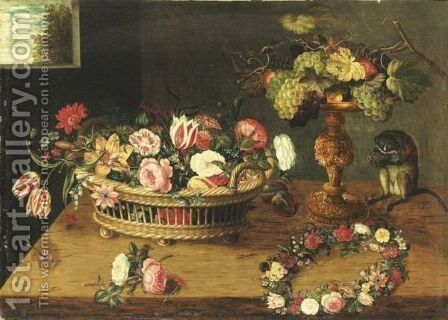 Flowers In A Basket, Monkey And Flowers Wreath by Jan, the Younger Brueghel - Reproduction Oil Painting