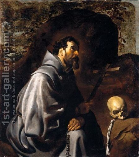 Saint Francis At Prayer by (after) Francisco De, The Elder Herrera - Reproduction Oil Painting