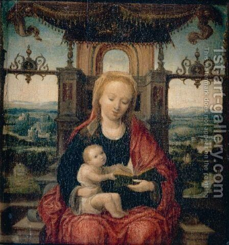 The Virgin And Child Enthroned With An Extensive River Landscape Beyond by (after) Adriaen Isenbrant - Reproduction Oil Painting