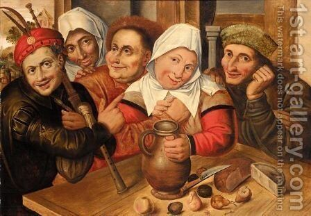 A Peasant Making Advances On A Woman, Other Peasants Gathered Around A Table With A Jug Of Wine, Fruit And Cheese by Jan Massys - Reproduction Oil Painting