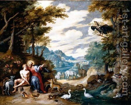 The Creation Of Adam In The Garden Of Eden by Jan, the Younger Brueghel - Reproduction Oil Painting