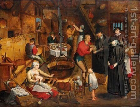 The Visit To The Farm by (after) Pieter The Younger Brueghel - Reproduction Oil Painting