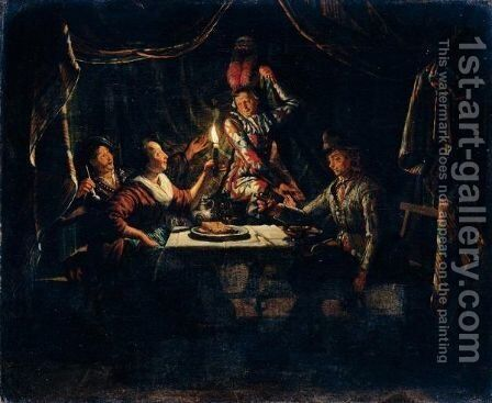 Nocturnal Scene With A Harlequin Surprising A Merry Company In A Curtained Interior by Matthijs Naiveu - Reproduction Oil Painting