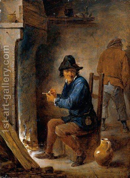 Interior With A Peasant Smoking A Pipe Before A Fireplace by David The Younger Teniers - Reproduction Oil Painting