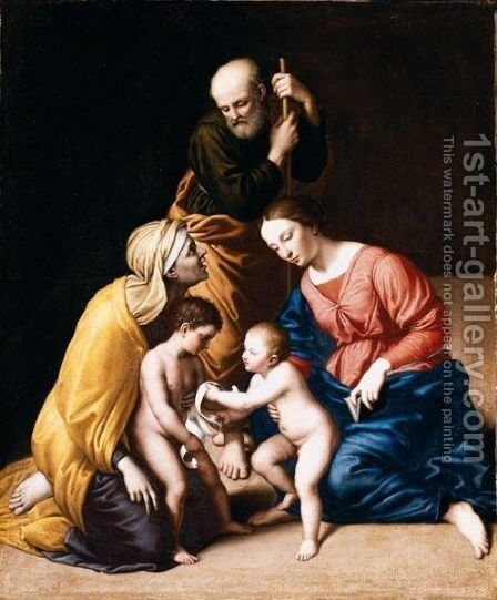 The Holy Family With The Infant Saint John The Baptist And Saint Elizabeth 2 by Giovanni Battista Salvi, Il Sassoferrato - Reproduction Oil Painting