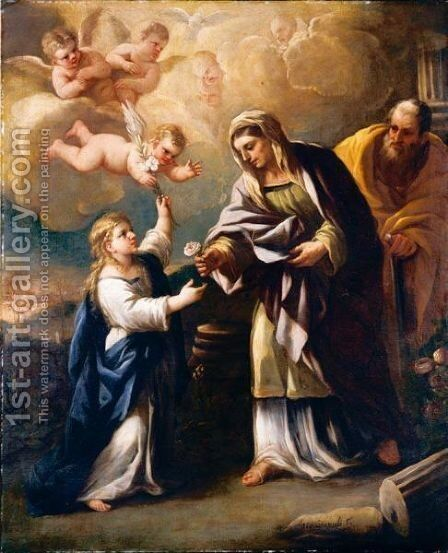 The Holy Family by Giuseppe Simonelli - Reproduction Oil Painting
