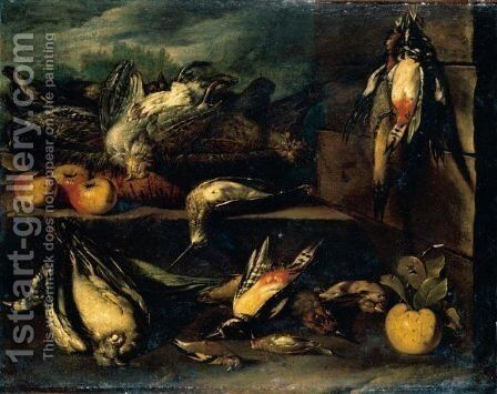 Still Life Of A Partridge, Woodcock, Woodpeckers, A Pigeon, Finches And Other Birds On A Stone Ledge With Apples by (after) Tommaso Salini (Mao) - Reproduction Oil Painting