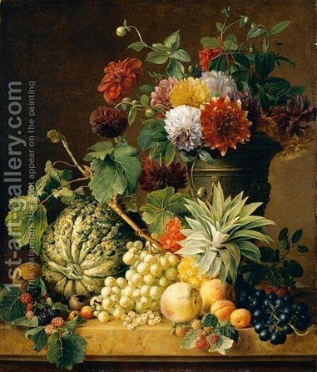 A Bouquet Of Flowers In An Urn And A Melon, A Pineapple, Grapes, Apricots, Peaches And Other Fruit, All Resting On A Marble Ledge by Anton Weiss - Reproduction Oil Painting