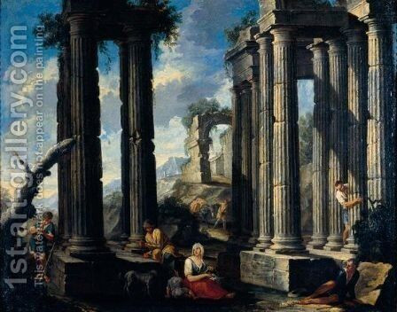 Landscape With Drovers And Other Figures Amidst Classical Ruins by Neapolitan School - Reproduction Oil Painting