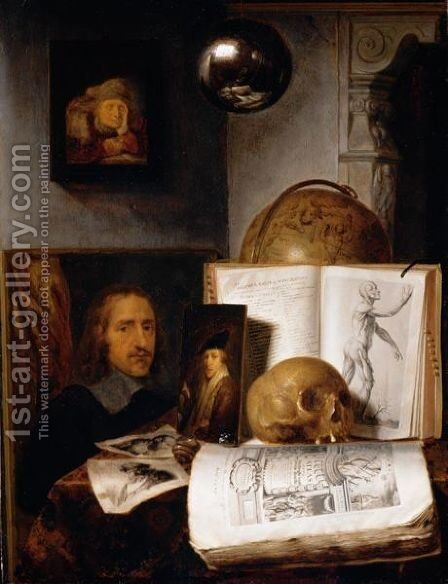 Still Life Of Books, Prints, Paintings, A Skull, Shell And A Globe Upon A Table Draped With A Green Cloth, A Sphere And A Painting Hanging Above by Simon Luttichuys - Reproduction Oil Painting