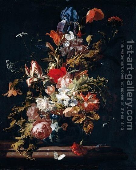A Still Life Of Blooms Of Lily, Rose, Poppy, Peony, Iris, Narcissus, Carnation, Convolvulus And Other Flowers, With Sprays Of Cow Parsley, In A Chinese Porcelain Vase On A Marble Ledge by Simon Pietersz. Verelst - Reproduction Oil Painting