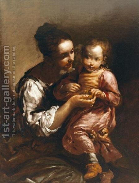 A Mother And Child, Possibly The Artist's Wife And Son by Giuseppe Maria Crespi - Reproduction Oil Painting