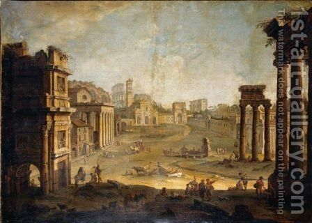 Rome, A View Of The Campo Vaccino by Antonio Joli - Reproduction Oil Painting