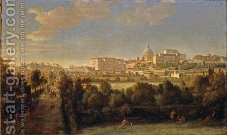 Rome, A View Of Saint Peter's Basilica And The Vatican Seen From Prati Di Castello by Caspar Andriaans Van Wittel - Reproduction Oil Painting
