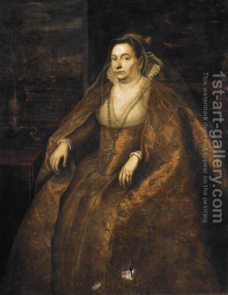 Portrait Of A Dogaressa, Three-Quarter Length, Seated Wearing An Elaborate Gold Embroidered Dress, With A View Of The Bacino Di San Marco Beyond by (after) Domenico Tintoretto (Robusti) - Reproduction Oil Painting