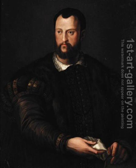 Portrait Of Cosimo I De' Medici (1519-1574), Half Length, Wearing A Fur-Lined Brown Embroidered Cloak And Holding A White Handkerchief by (after) Agnolo Bronzino - Reproduction Oil Painting