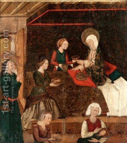 The Birth Of The Virgin by Spanish School - Reproduction Oil Painting