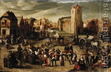 A Village Kermesse 2 by (after) Gillis Mostaert - Reproduction Oil Painting