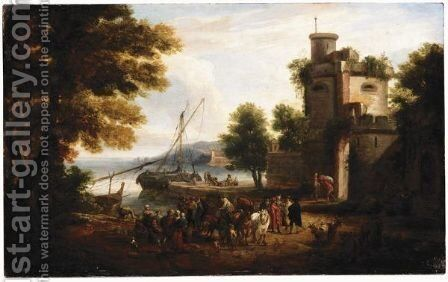 Italianate Harbour Scene With Figures On The Quay Before A Town's Walls by Mathys Schoevaerdts - Reproduction Oil Painting